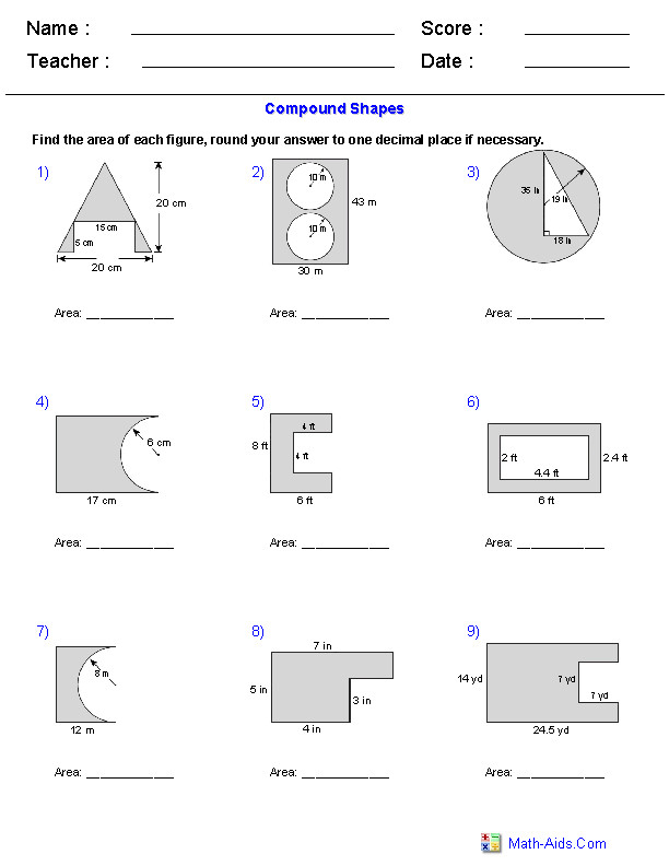 Area of pound Shapes Subtracting Regions Worksheets