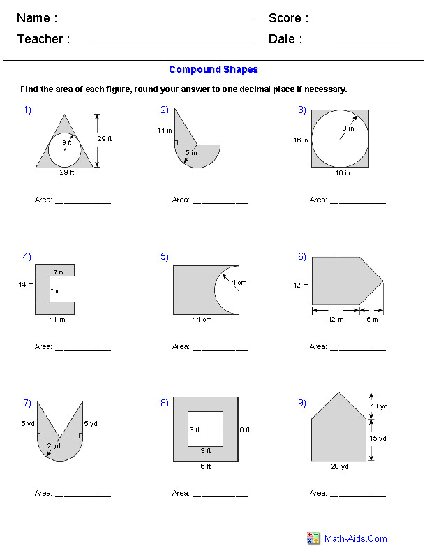 Area of pound Shapes Adding and Subtracting Regions Worksheets