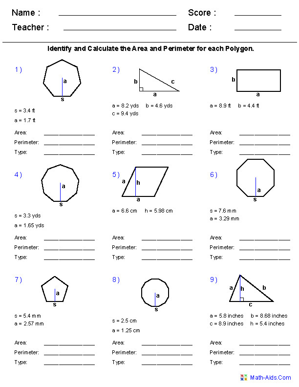 Area and Perimeter Using All Polygons Worksheets
