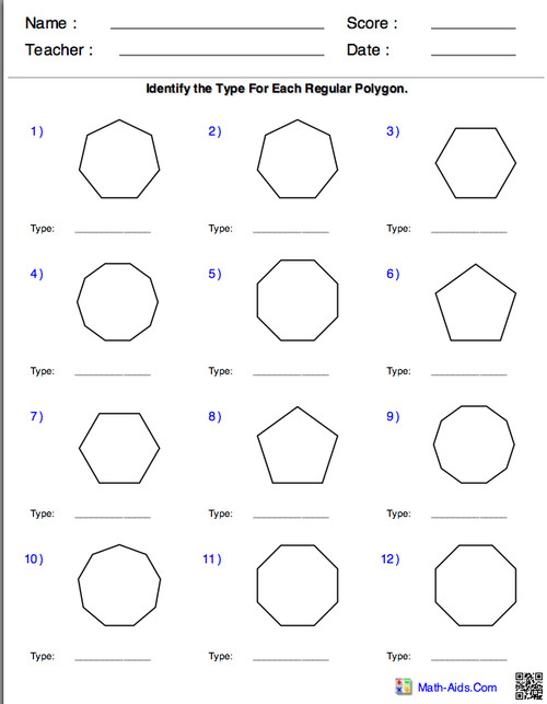 This would be a perfect review worksheet for the kids After learning the characteristics of what makes up a regular polygon they can use this worksheet