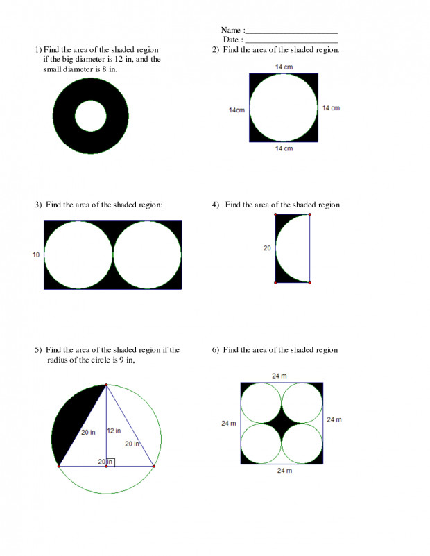 The Area Shaded Region Depict Beautiful Circle Worksheet The Area The Shaded Region Imagine