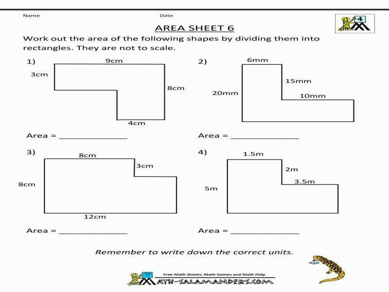 Area Worksheets size 800 x 600 px source salamanders