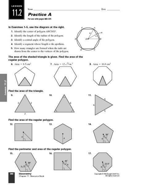 Practice A Area of Polygons 9th 11th Grade Worksheet