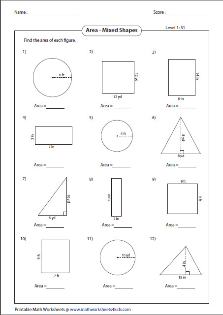 Area Of Shapes Worksheet