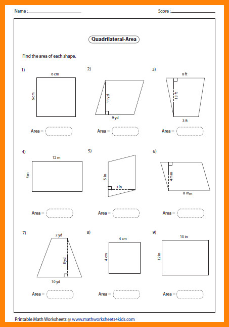 area of trapezoid worksheetea quadrilateral level1 large