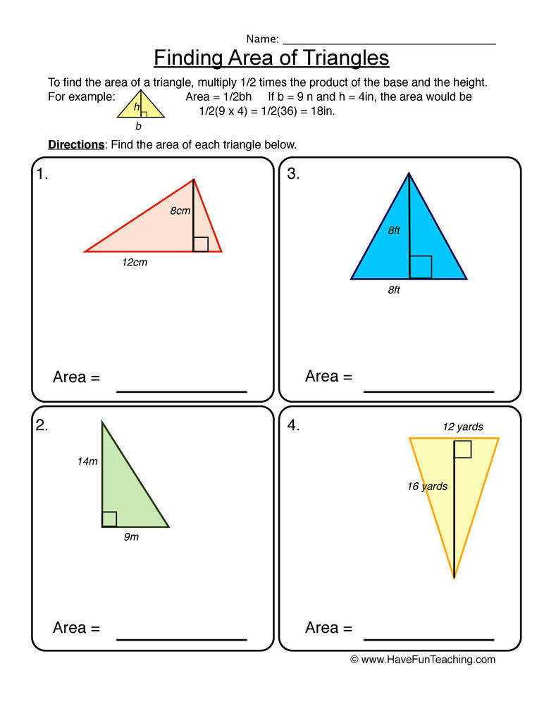 Finding the Area of Triangles – Area Worksheet 3