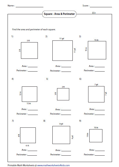 Area and Perimeter of Square Mixed