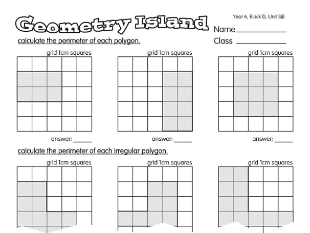Preview of Estimation Island A year 6 Area and Perimeter worksheet