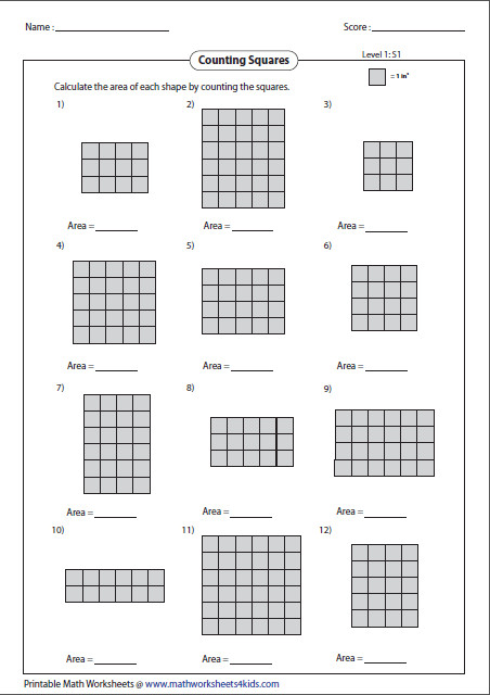 Area of Rectangle by Counting Squares