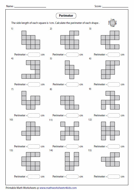 This page contains perimeter worksheets using squares and grids