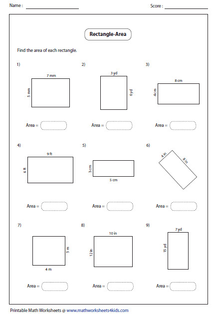 Area Worksheet 3Rd Grade