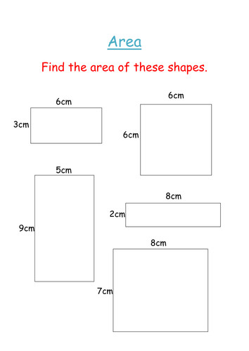 Area of squares and rectangles worksheet by groov e chik Teaching Resources Tes