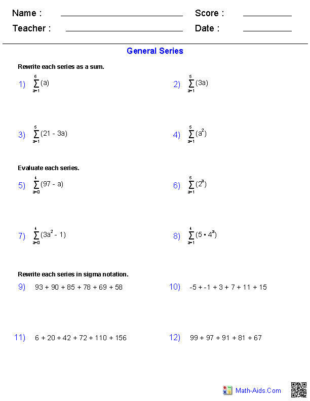 Sequences & Series Worksheets
