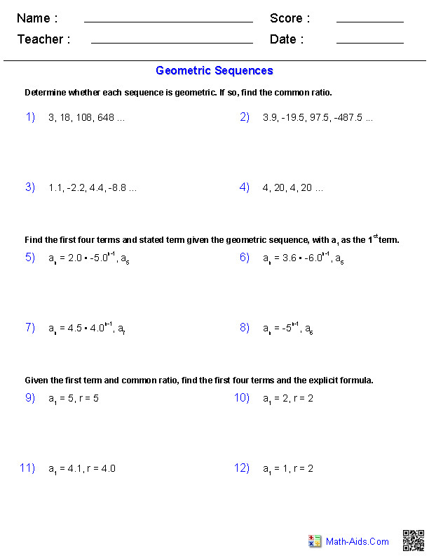 arithmetic and geometric sequences worksheet. Black Bedroom Furniture Sets. Home Design Ideas