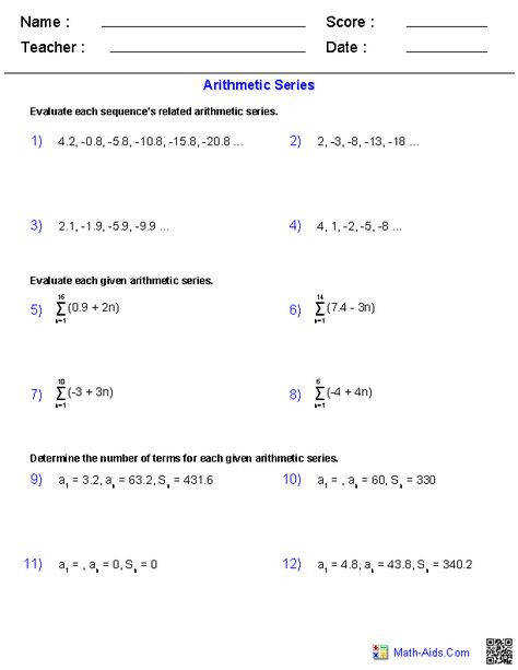 Sequences and Series Worksheets 10 worksheet Pinterest