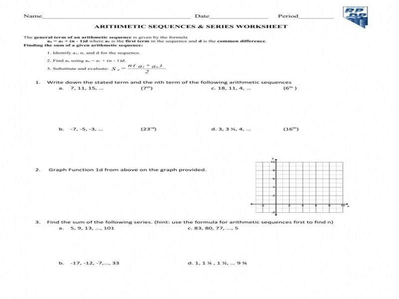 Worksheet Arithmetic Sequence & Series Word Problems