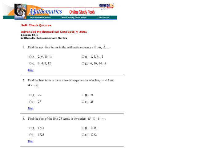 Worksheets Arithmetic Sequences And Series Worksheet glencoe arithmetic sequences and series 2 9th 12th grade worksheet
