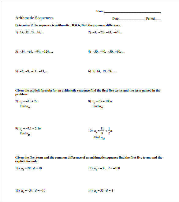 Arithmetic Sequence Equation