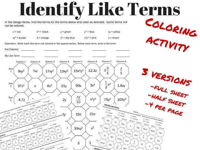 Identify Like Terms Coloring Page Activity