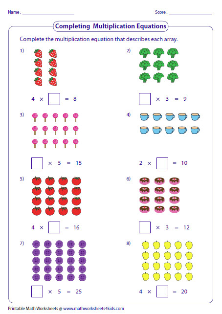 pleting Multiplication Sentences Arrays