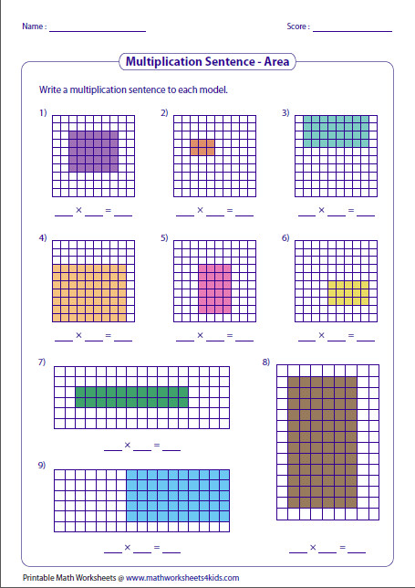 Variety of worksheets based on multiplication models such as equal groups rectangular arrays area models and number lines