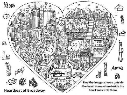 A worksheet where the student has to find certain objects inside the picture of the heart