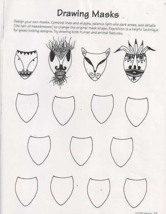 Ande Cook s Drawing Masks worksheet and Art Education Substitute