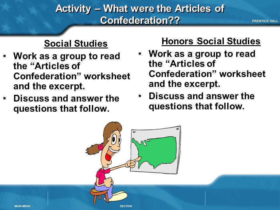 Activity – What were the Articles of Confederation