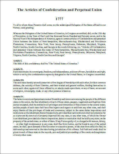 Articles of Confederation 1777 Free to print PDF file