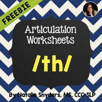 FREE Worksheets for the th sound when working on articulation in speech therapy