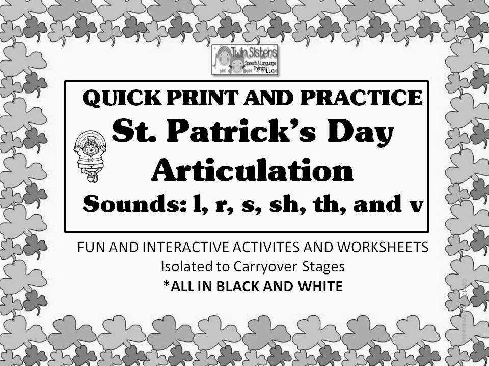 PATRICK S DAY SPEECH LANGUAGE LITERACY AND ARTICULATION UNITS