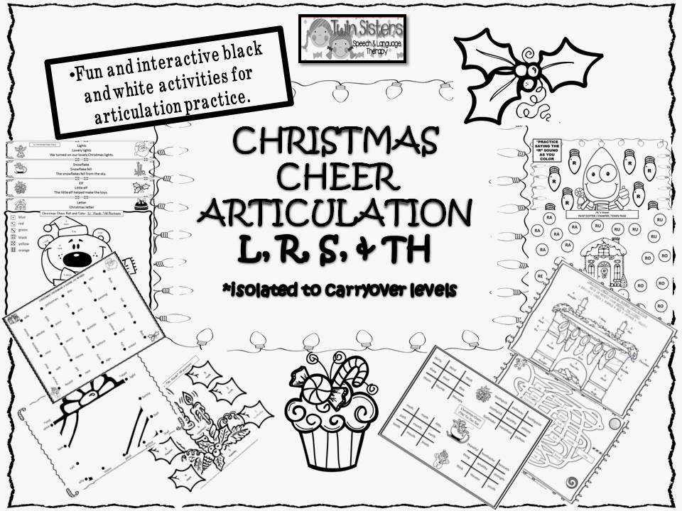 CHRISTMAS CHEER ARTICULATION L R S AND TH SOUNDS All in black and white