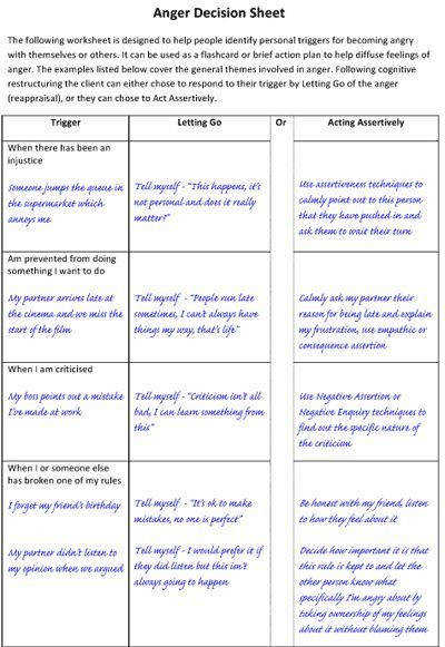 Anger Decision Sheet Letting Go and Acting Assertively angermanagement assertiveness