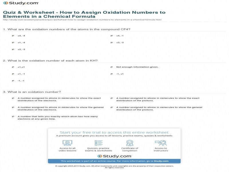 Quiz & Worksheet How To Assign Oxidation Numbers To Elements In
