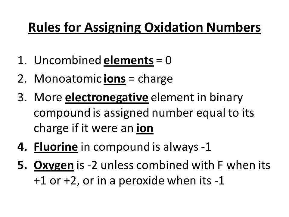 12 Rules for Assigning Oxidation Numbers