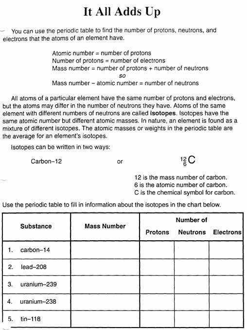 Atomic Mass Worksheet