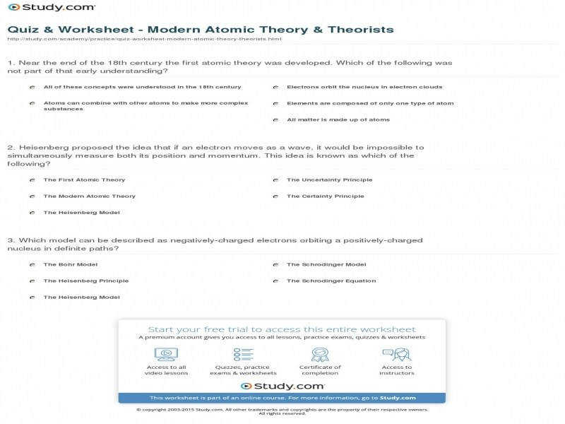 Quiz & Worksheet Modern Atomic Theory & Theorists