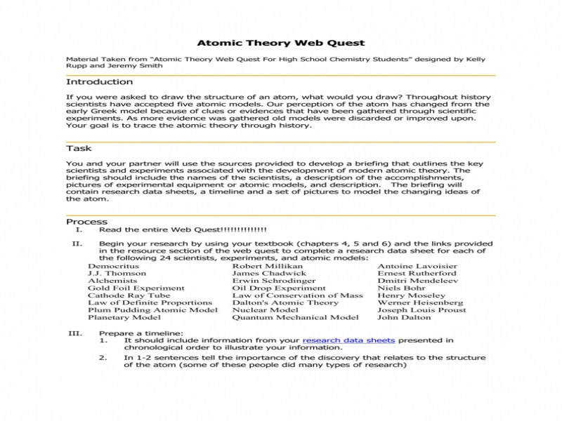 Atomic Theory Web Quest Supporting Technology Wiki
