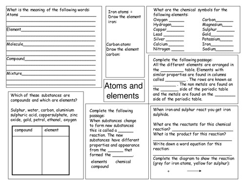 Atoms and elements revision worksheet by deb1977 Teaching Resources Tes
