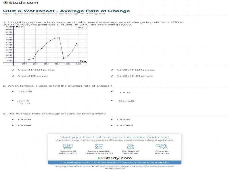 average rate of change worksheet. Black Bedroom Furniture Sets. Home Design Ideas