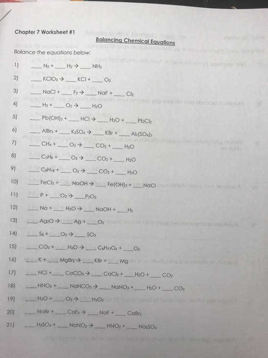 Chapter 7 Worksheet 1 Balancing Chemical Equations Balance the equations below N2 KCIO