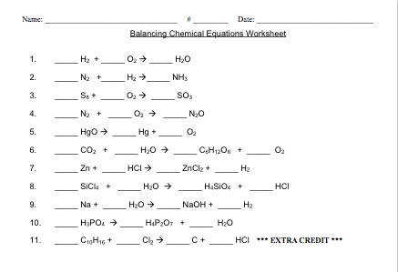 Document Look Balancing Chemical Equations Worksheet Customizable Chemistry