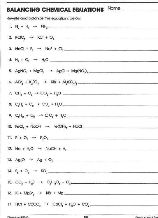 Word Equations Worksheet Chemistry - careless.me