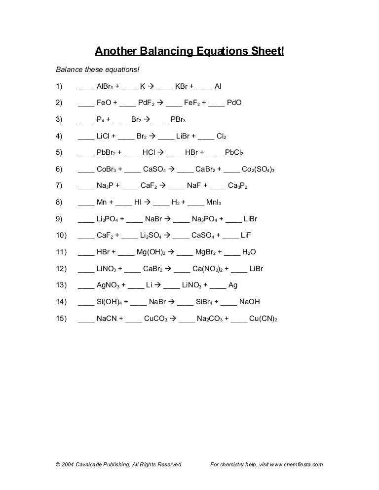 Balancing chemical equations worksheet 1 pre munity printables chemistry 11 answer key chem11 worksheets equations