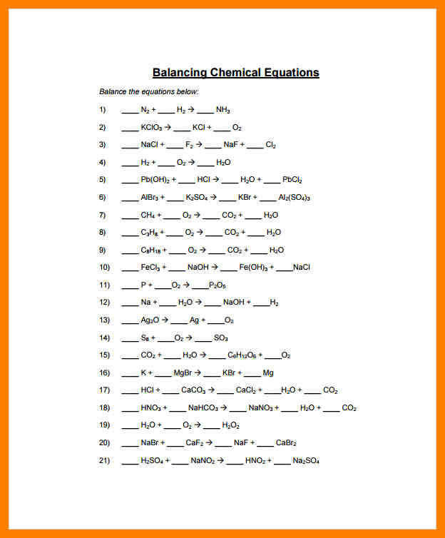 balance equations worksheet 8