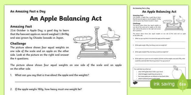 An Apple Balancing Act Activity Sheet worksheet