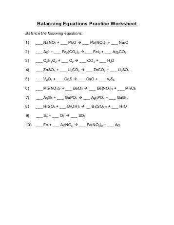 Balancing Equations Practice Worksheet