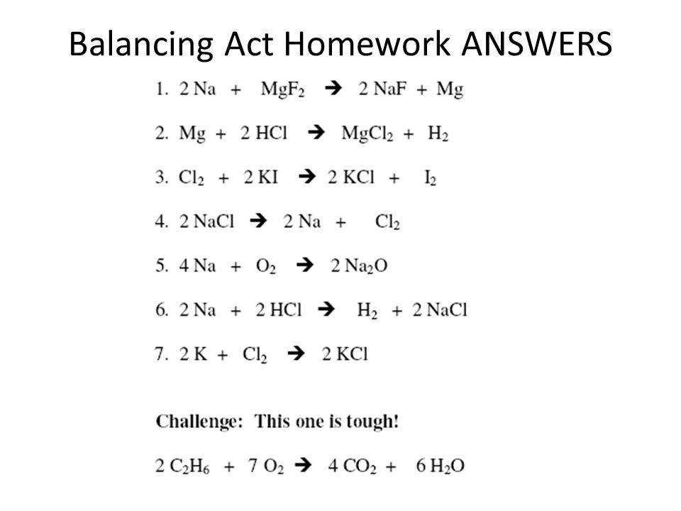 19 Balancing Act Homework ANSWERS