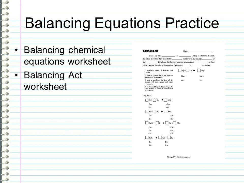 56 Balancing Equations Practice Balancing chemical equations worksheet Balancing Act worksheet