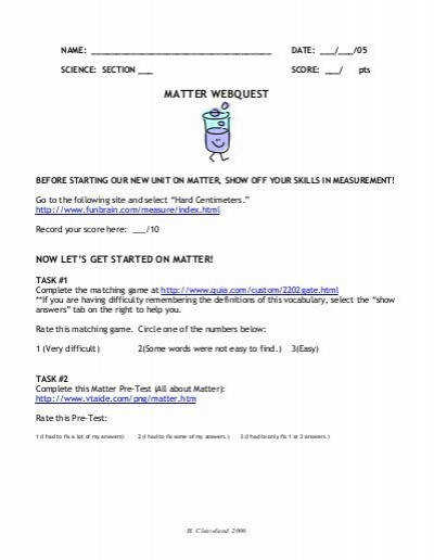 All Worksheets balancing act worksheet answer key States of Matter Webquest